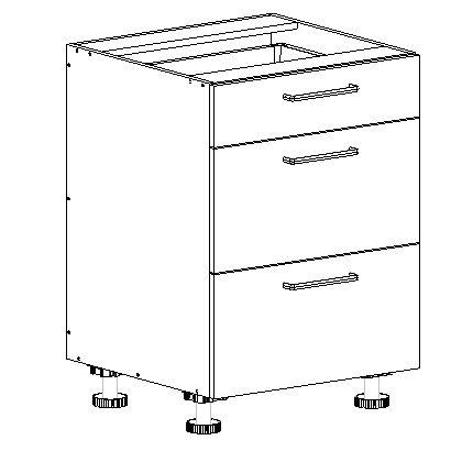 3 drawer base cabinet