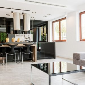 Minimalist and very spacious living room linked with a very modern kitchen